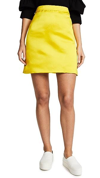 Adam Lippes Duchess Satin A-Line Miniskirt In Chartreuse