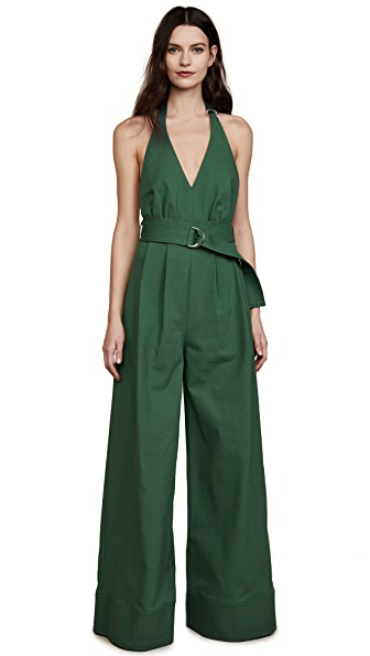 Adam Lippes Halter Jumpsuit In Sage