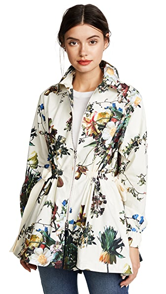 Adam Lippes Printed Poplin Jacket with Side Ties In Ivory Multi