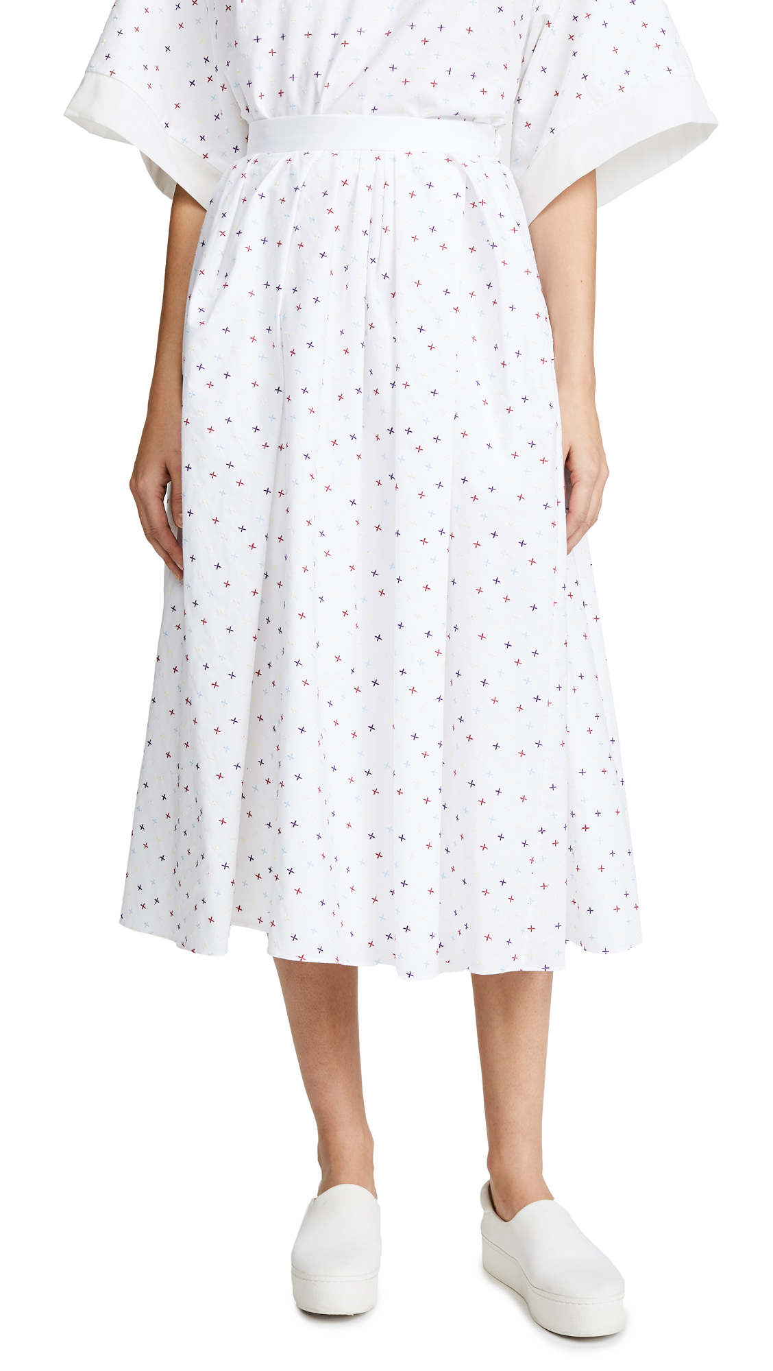 Adam Lippes Gathered Midi Skirt In White Multi