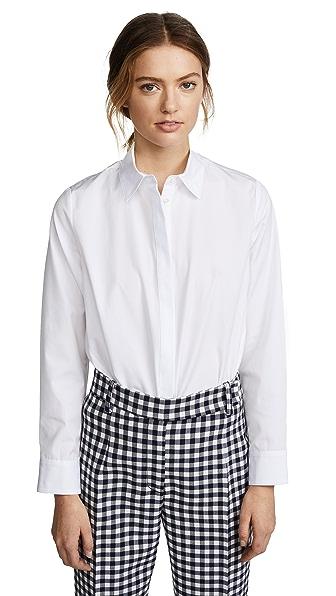 Adam Lippes Trapeze Button Down Shirt In White