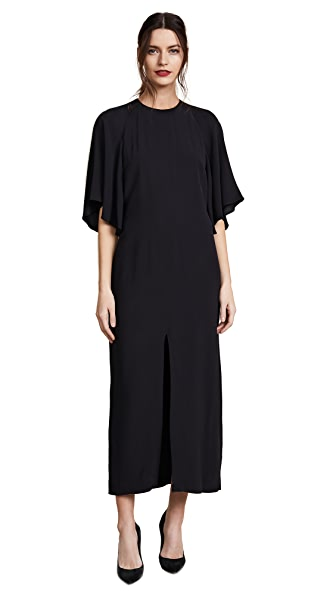 Adam Lippes Flounce Sleeve Midi Dress In Black