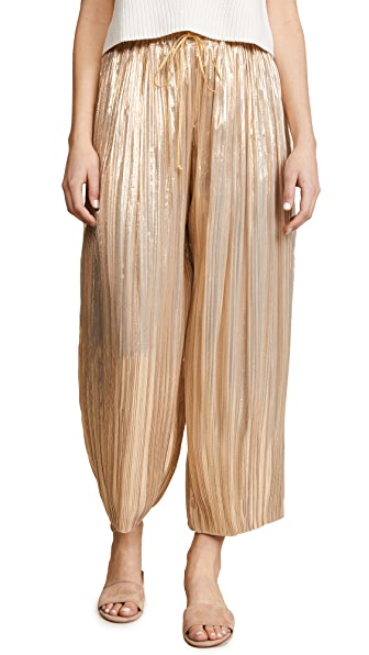Adam Lippes Pleated Lame Ankle Pants with Drawstring Waist In Gold