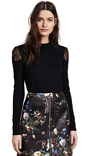 Adam Lippes Lace Crew Neck Sweater In Black/Black