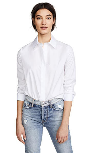 Adam Lippes Long Sleeve Dress Shirt In White