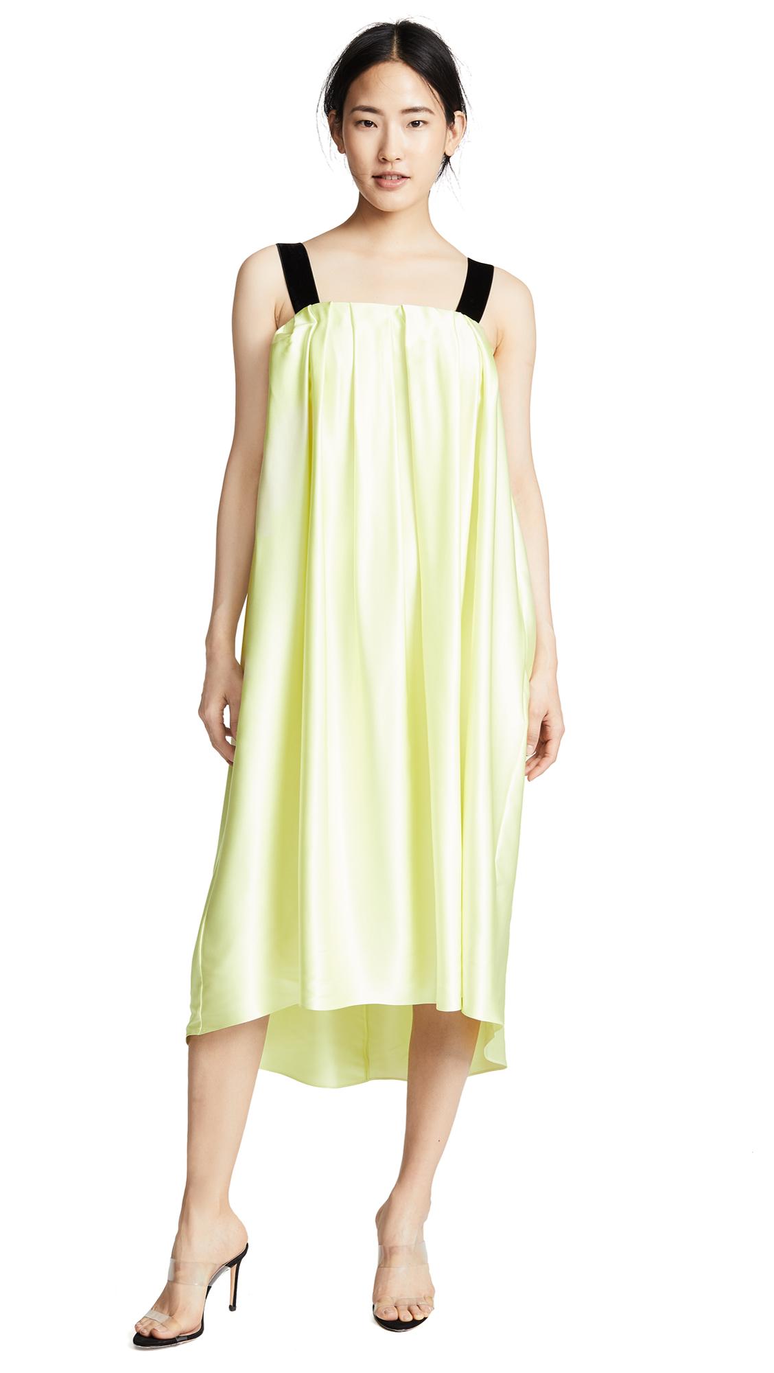 Silk Charmeuse Midi Dress With Velvet Trim in White