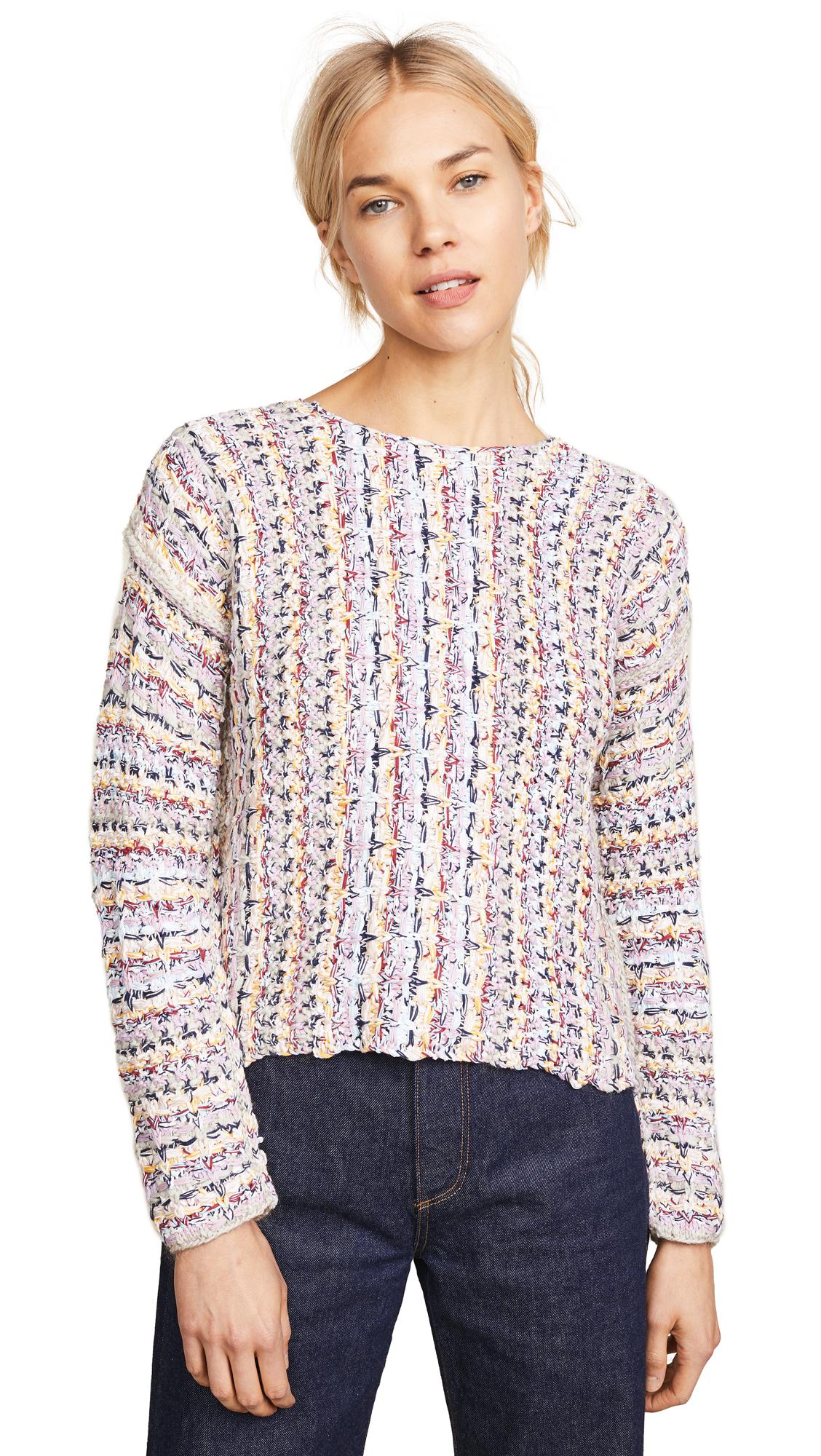 Adam Lippes Tweed Boat Neck Sweater - Ivory/Pink Multi