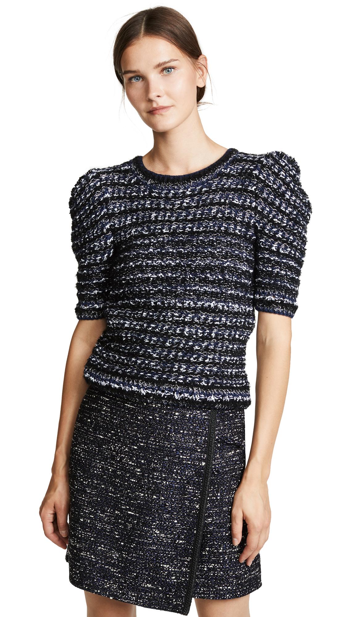 Adam Lippes Tweed Puff Sleeve Sweater - Navy Multi