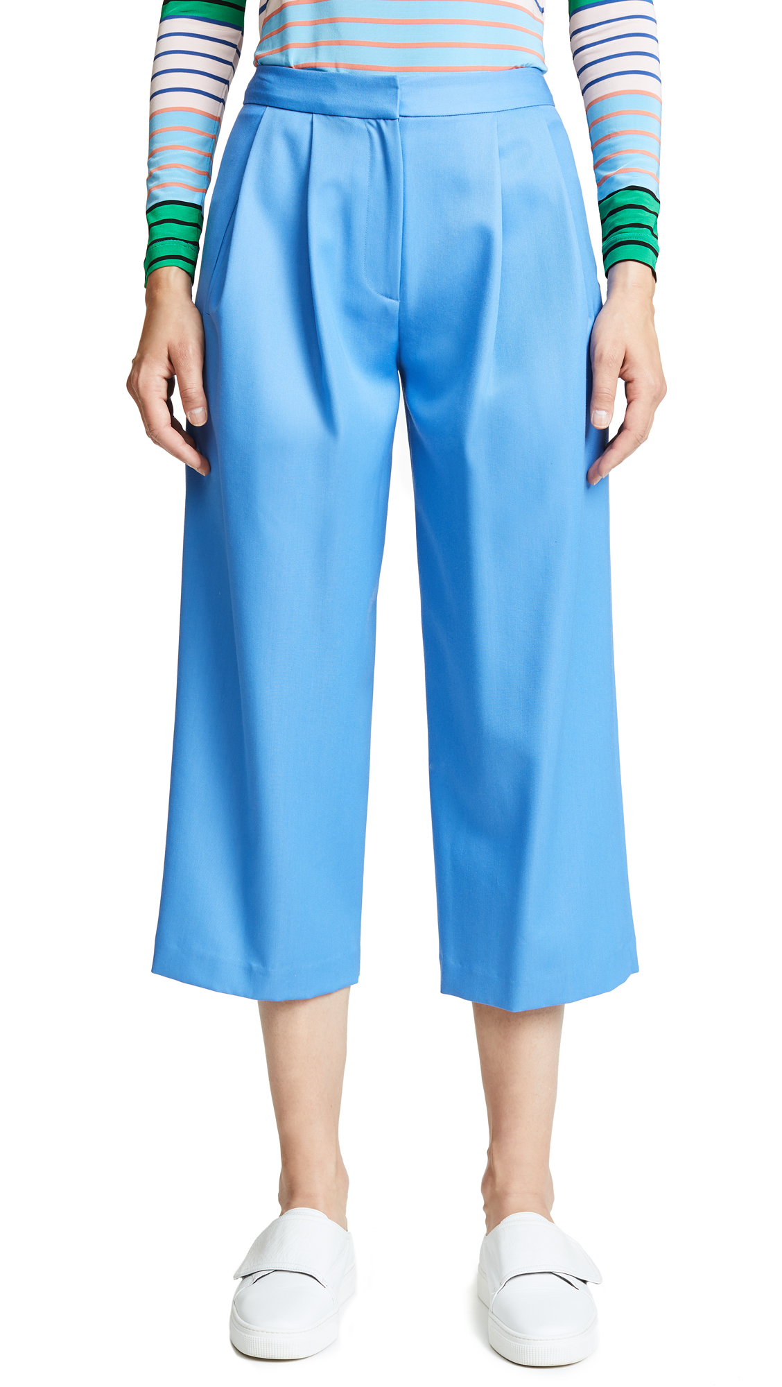 Adam Lippes Gabardine Pleated Culottes