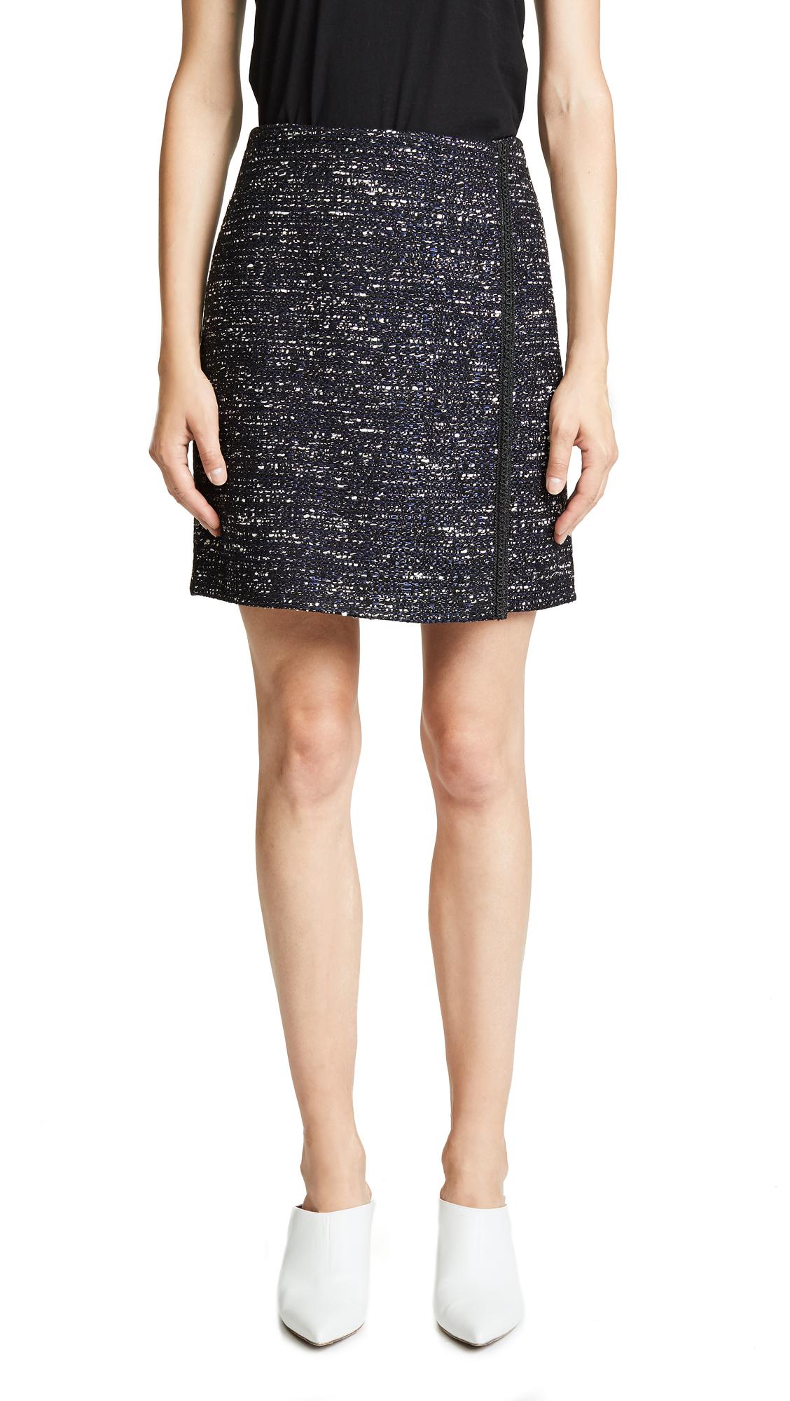 Adam Lippes Cotton Tweed Wrap Miniskirt - Navy Multi