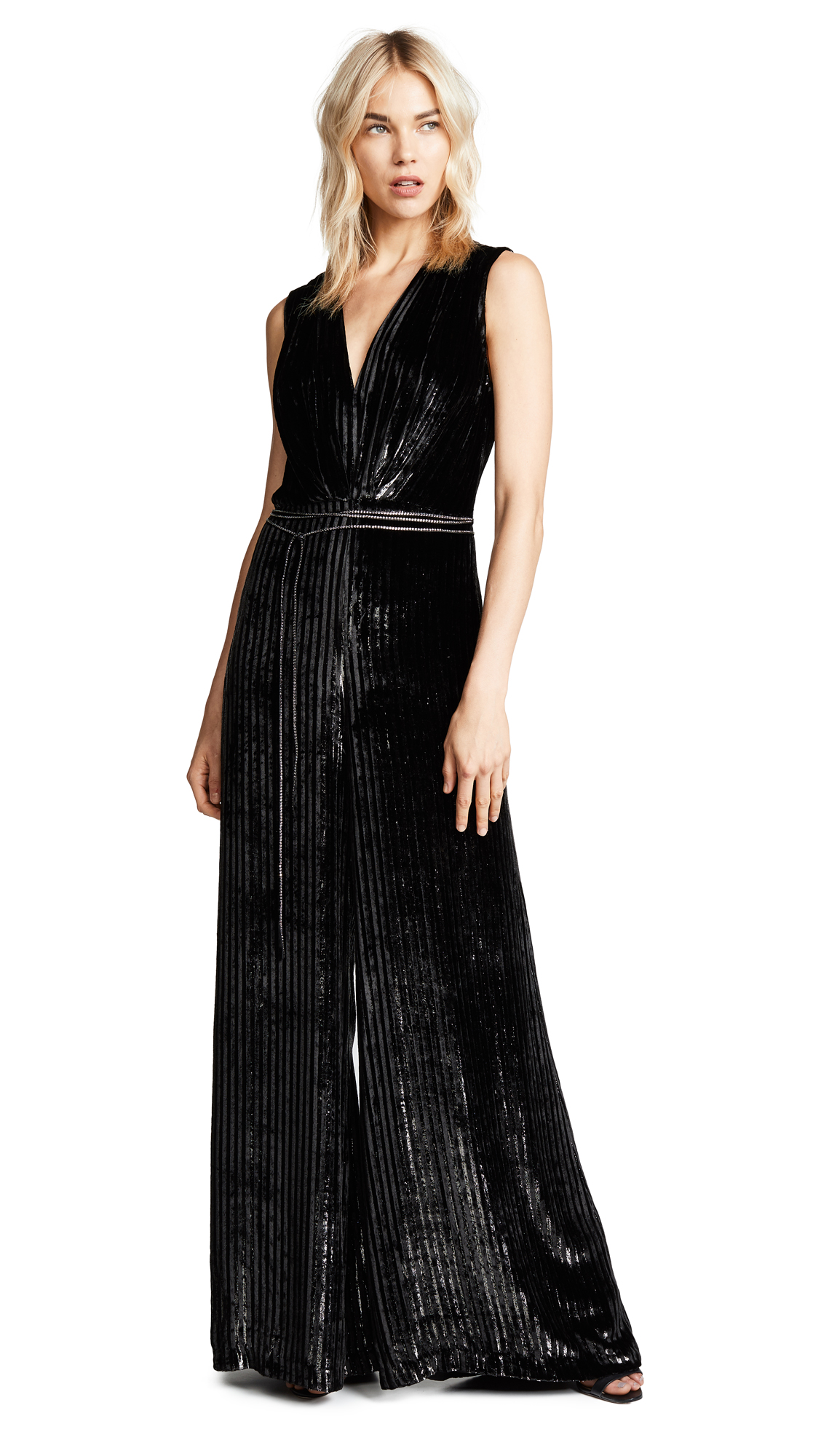 Adam Lippes Striped Silk Velvet Jumpsuit