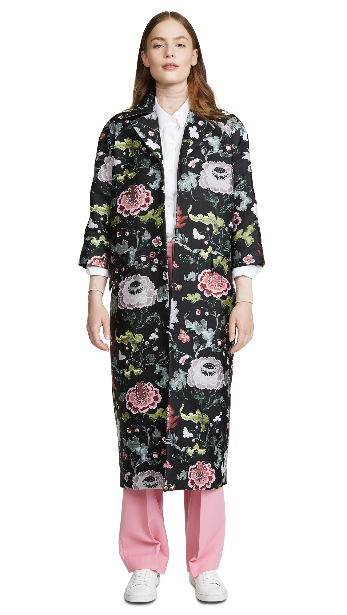 Adam Lippes Opera Coat In Black Floral