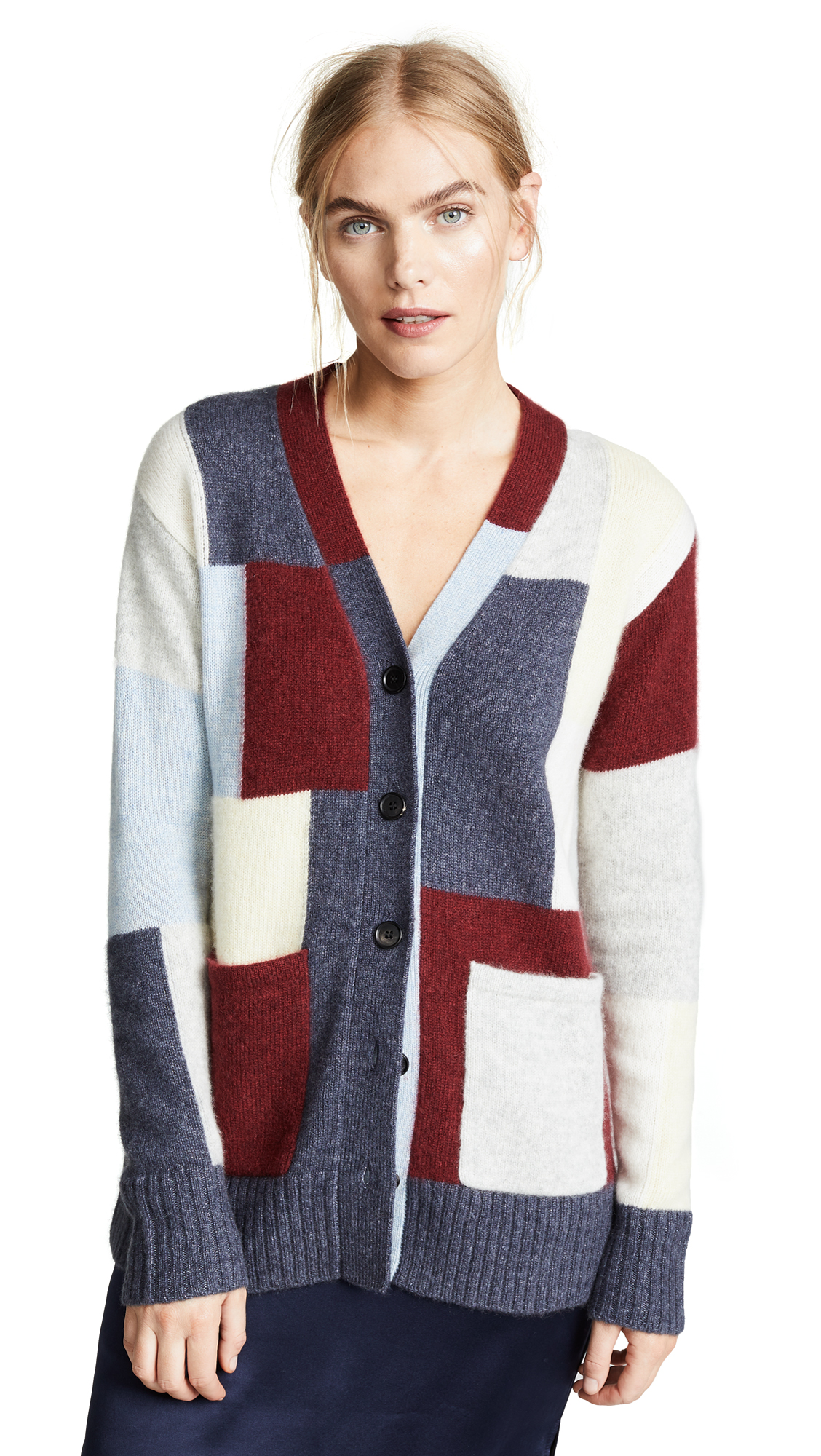 Adam Lippes Brushed Cashmere Knit Patchwork Cardigan In Plaid Multi