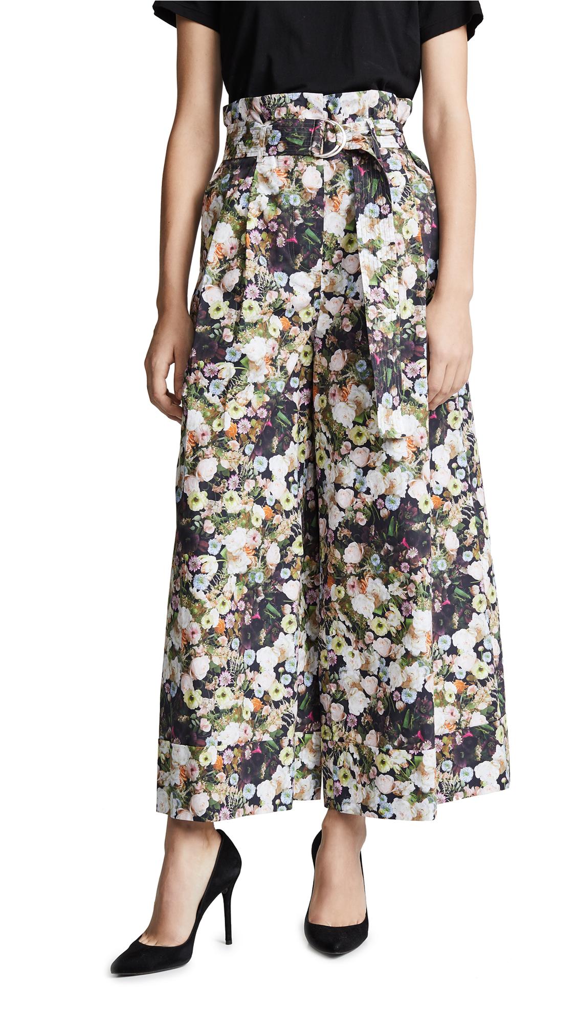 Adam Lippes Printed Poplin Tie Waist Culottes - Black Floral