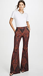 Adam Lippes Printed High Waisted Flare Pants