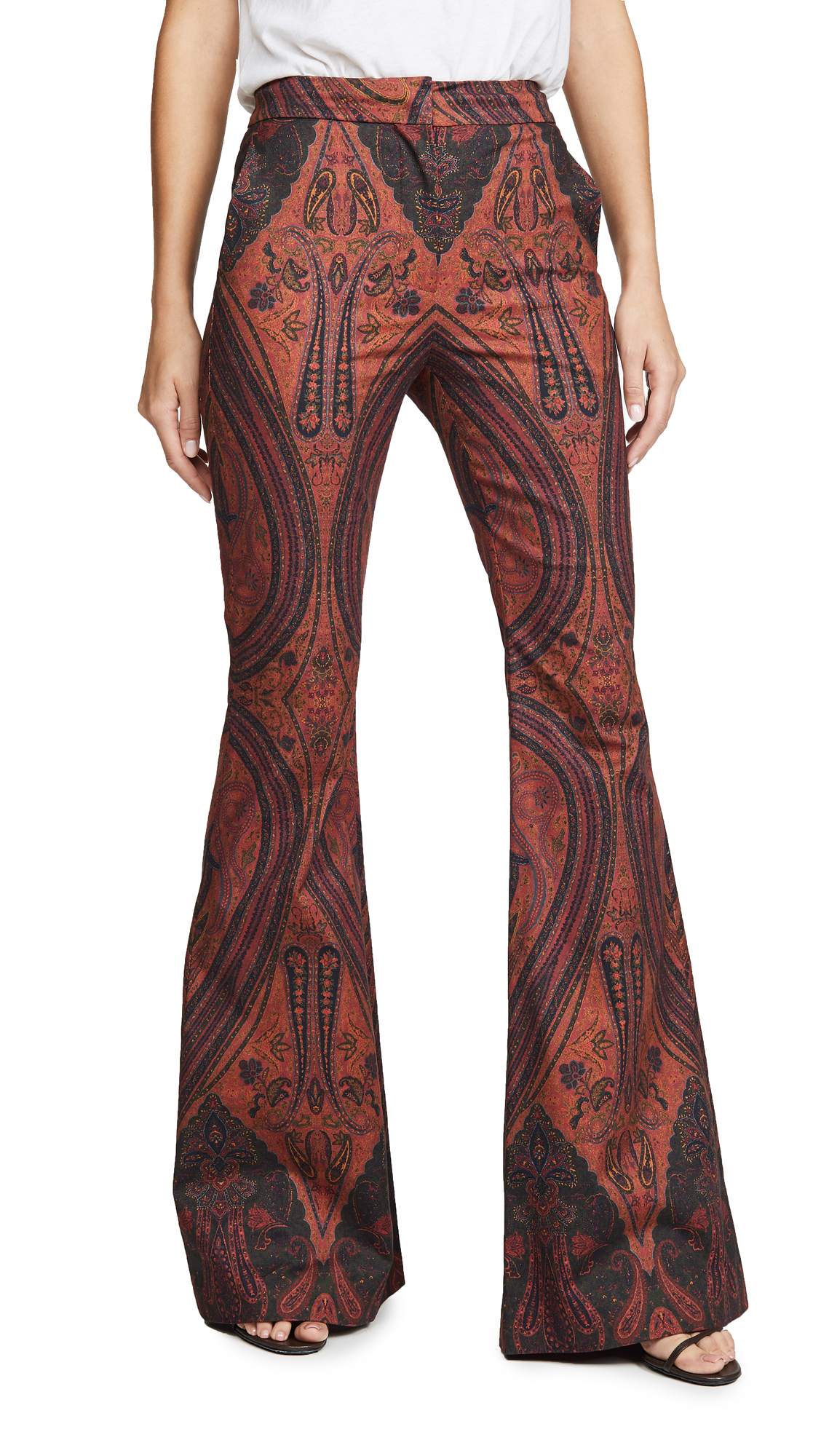 Buy Adam Lippes online - photo of Adam Lippes Printed High Waisted Flare Pants