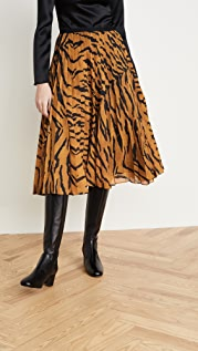 Adam Lippes Pleated Midi Skirt in Printed Voile