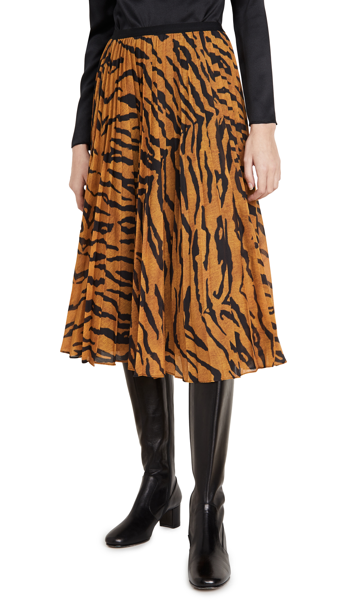 Buy Adam Lippes online - photo of Adam Lippes Pleated Midi Skirt in Printed Voile