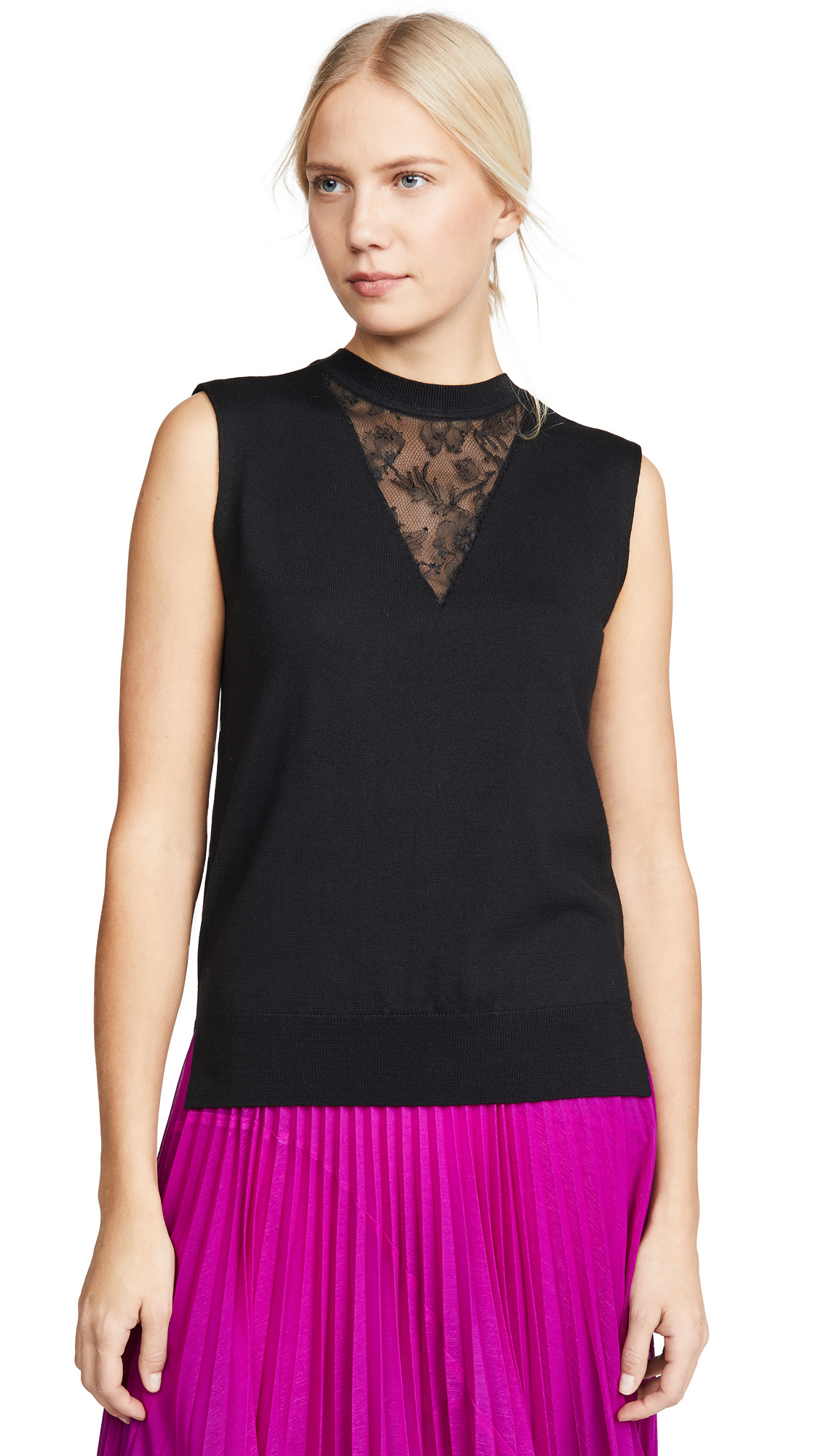 Adam Lippes Merino Wool Shell with Lace Trim - 60% Off Sale