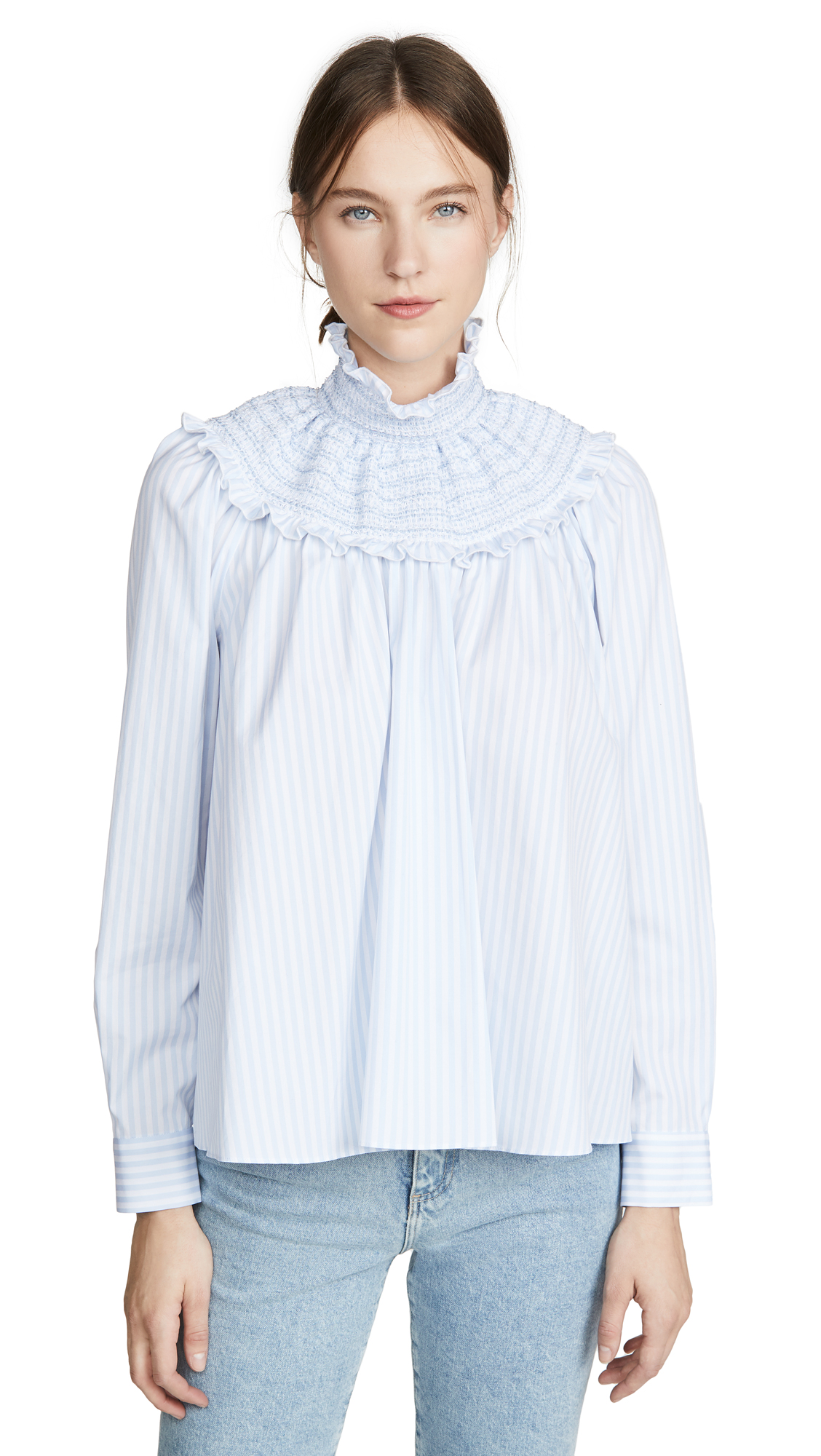 Adam Lippes Smocked Neck Top In Striped Cotton - 40% Off Sale