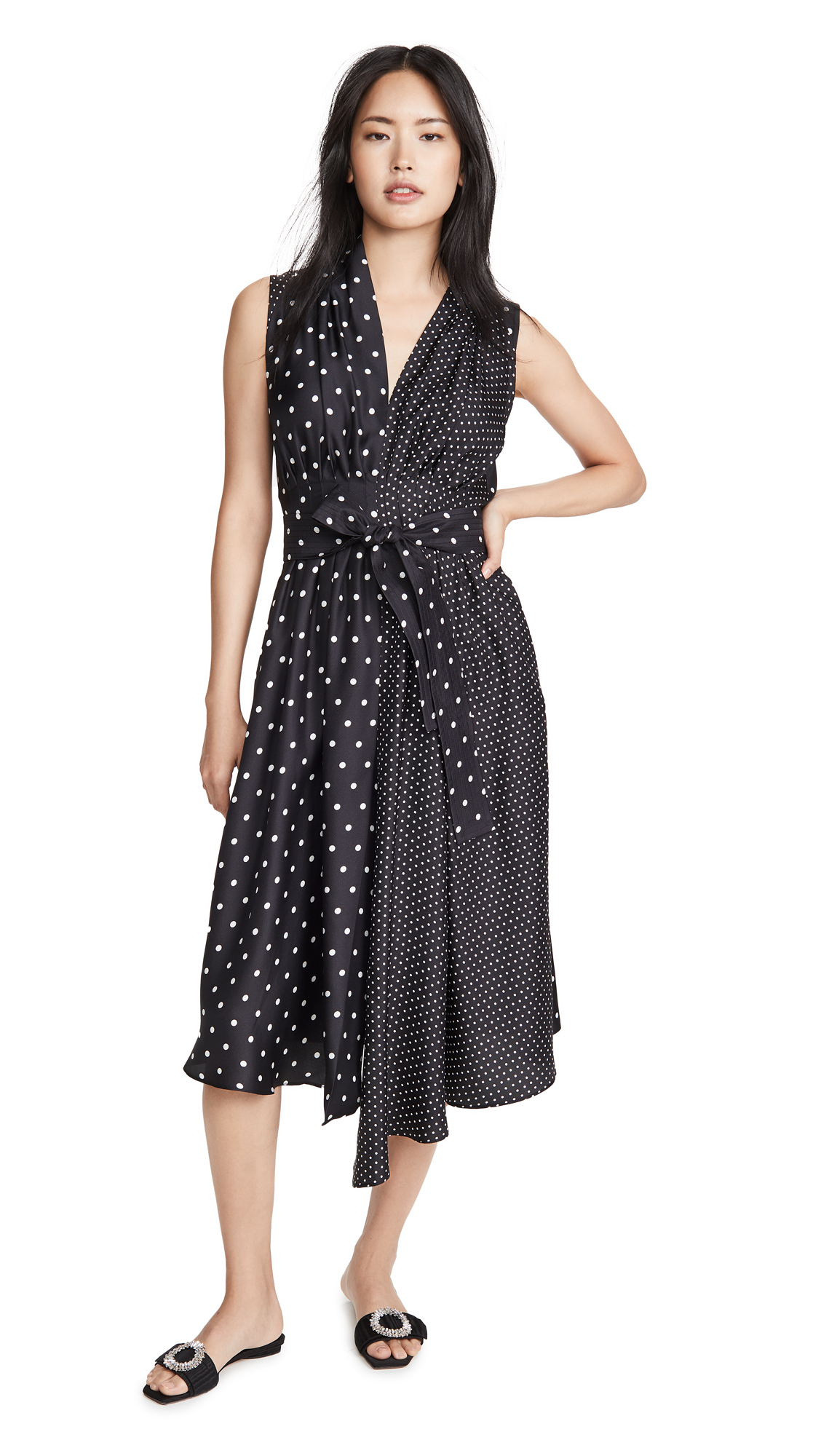 Adam Lippes Asymmetrical Dress In Printed Twill - 50% Off Sale