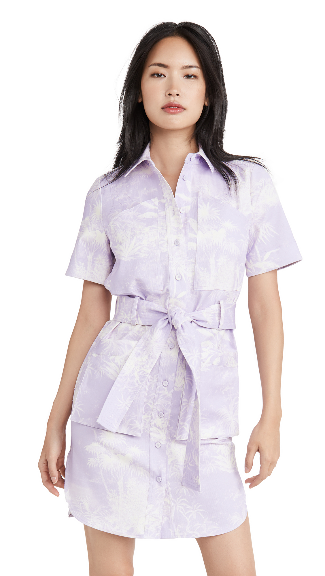 Adam Lippes Belted Shirt Dress In Printed Twill - 50% Off Sale
