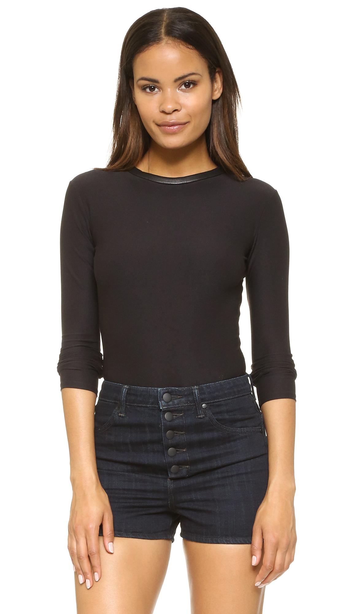 Alix Classic Collection Chloe Thong Bodysuit - Black/Black at Shopbop
