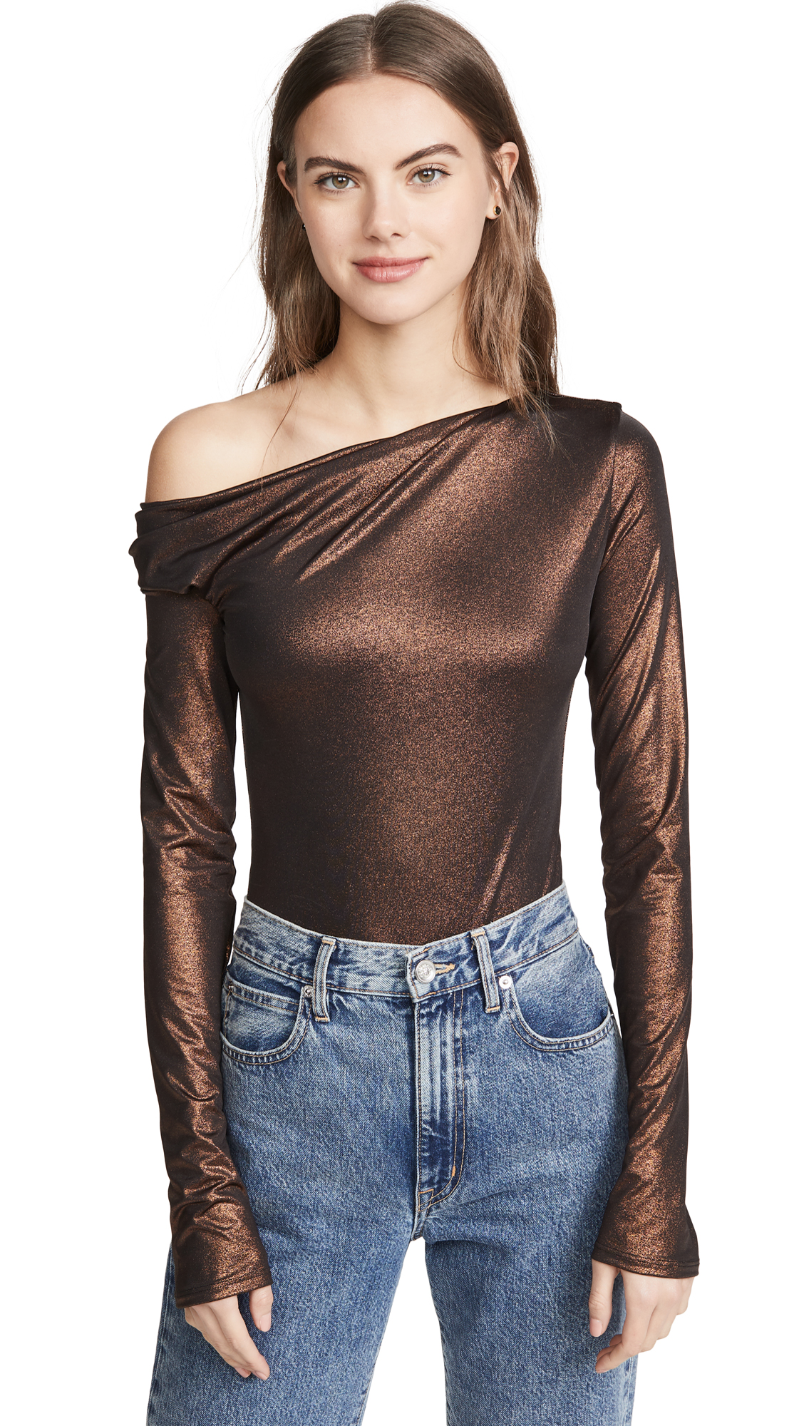 Buy Alix online - photo of Alix Willett Metallic Thong Bodysuit