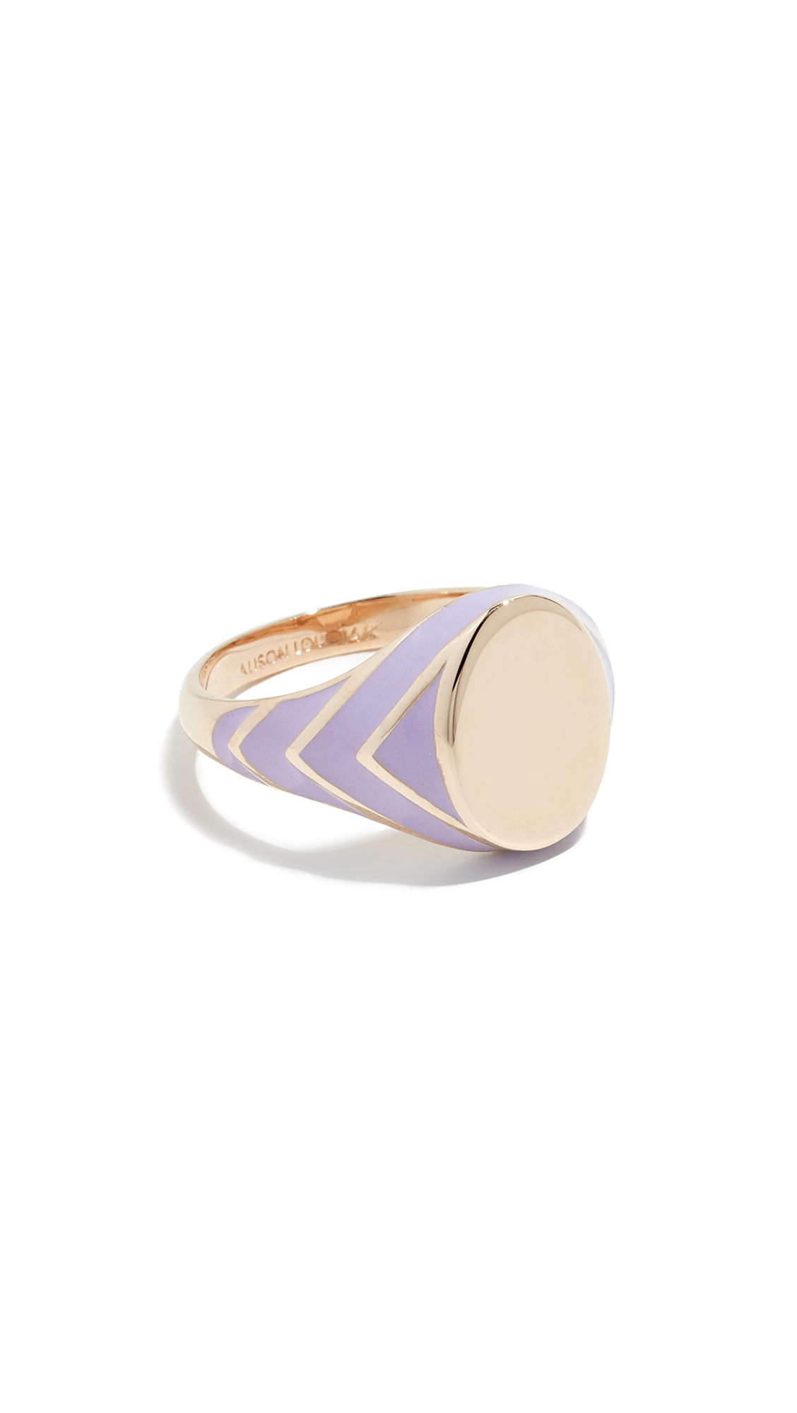 Alison Lou 14k Stripe Signet Ring - Purple