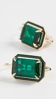 Alison Lou Emerald Rectangle Cocktail Earrings