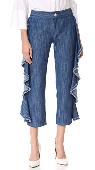 Alexis Nikko Ruffle Jeans In Denim