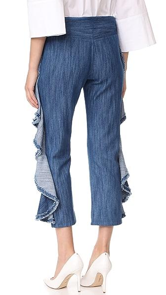 ALEXIS Nikko Ruffle Cropped Jean in Denim