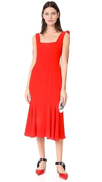 Alexis Pauldine Dress In Solid Red