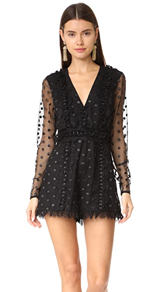 Alexis Samira Romper In Sheer Black Dot