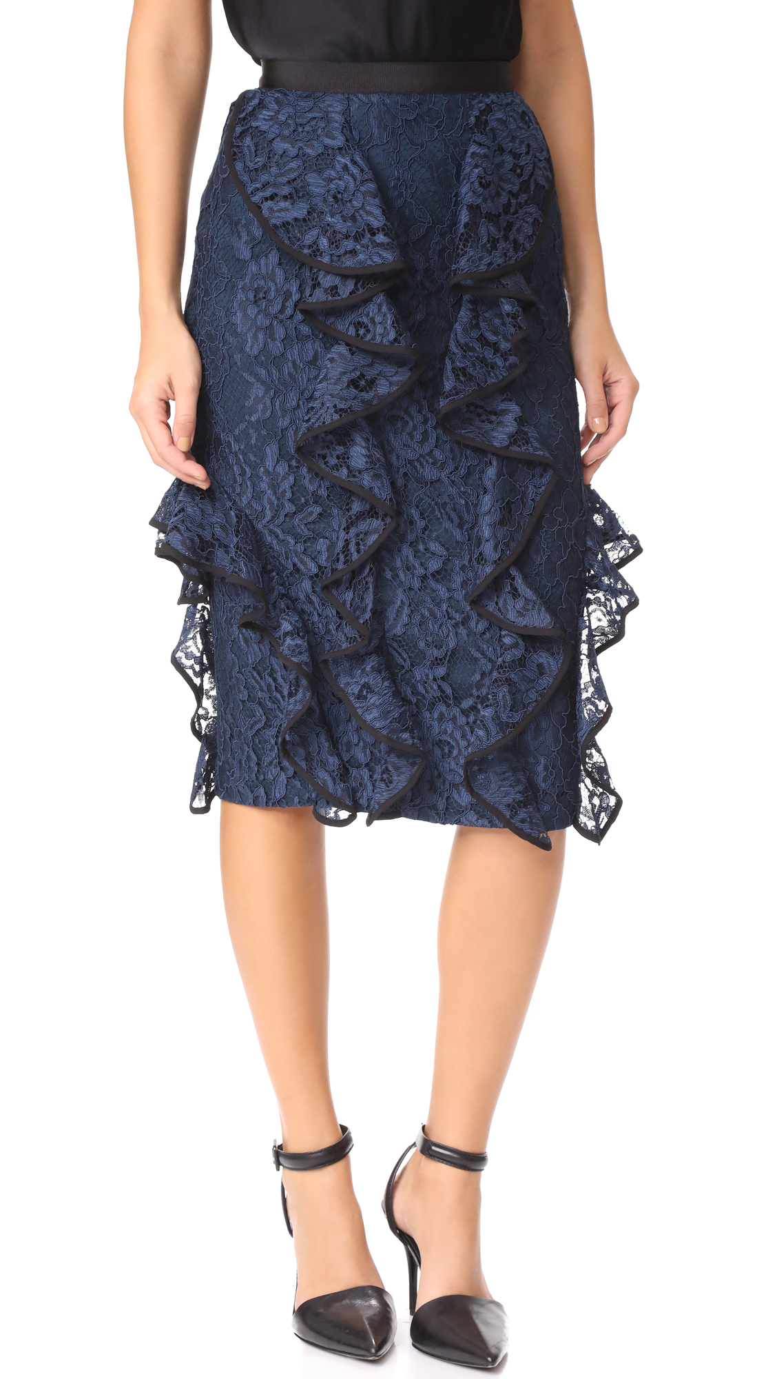 Alexis Jensine Lace Skirt - Navy Lace