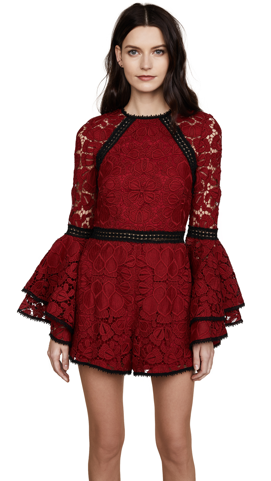 Alexis Briette Romper - Dark Red Lace