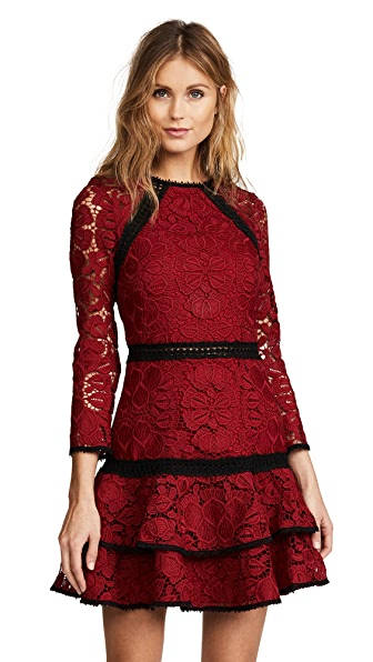Alexis Kharis Dress In Dark Red Lace