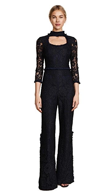 Alexis Debra Jumpsuit in Midnight Lace Black