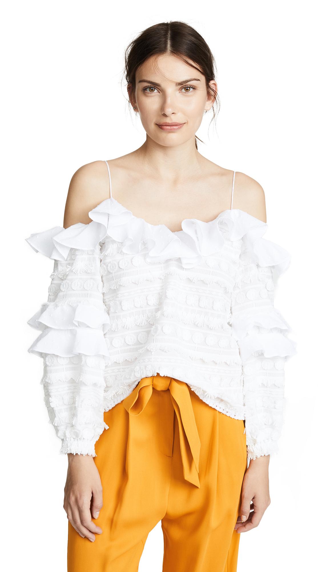 Alexis Damini Top In White Embroidery
