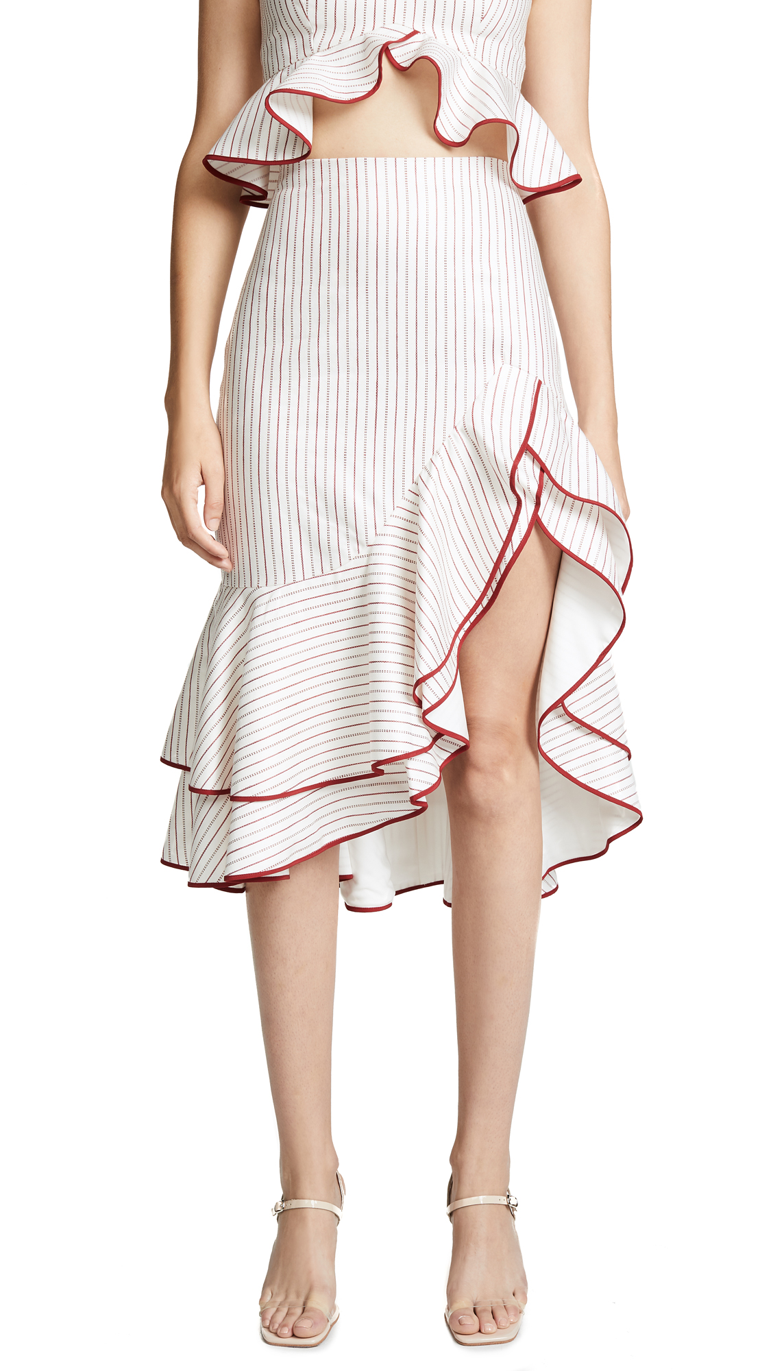 ALEXIS Ruffled Asymmetric Skirt in Rouge Stripe