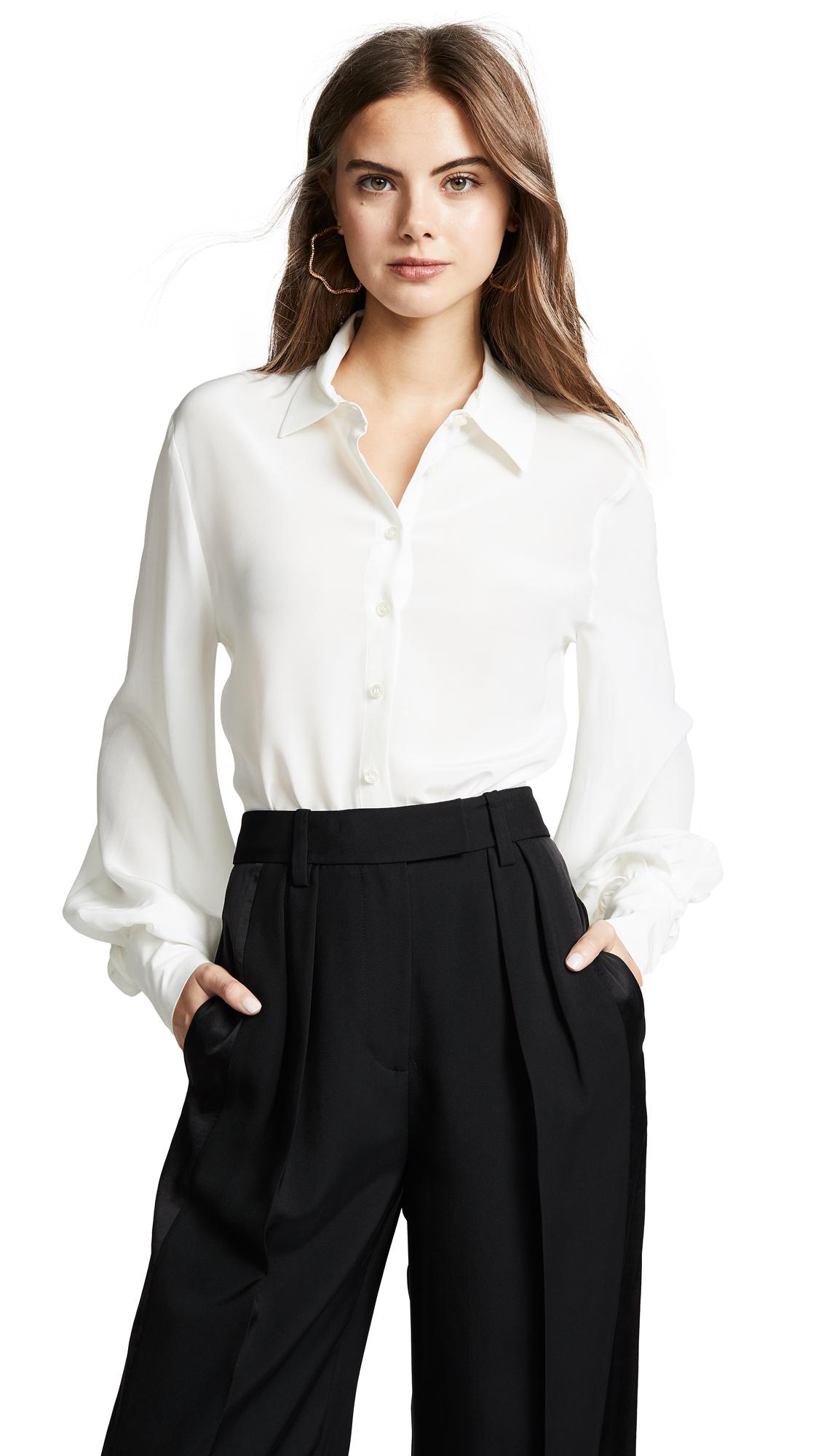 ee92121a800b2 Alexis Aster Button-Front Long-Sleeve Silk Top In White