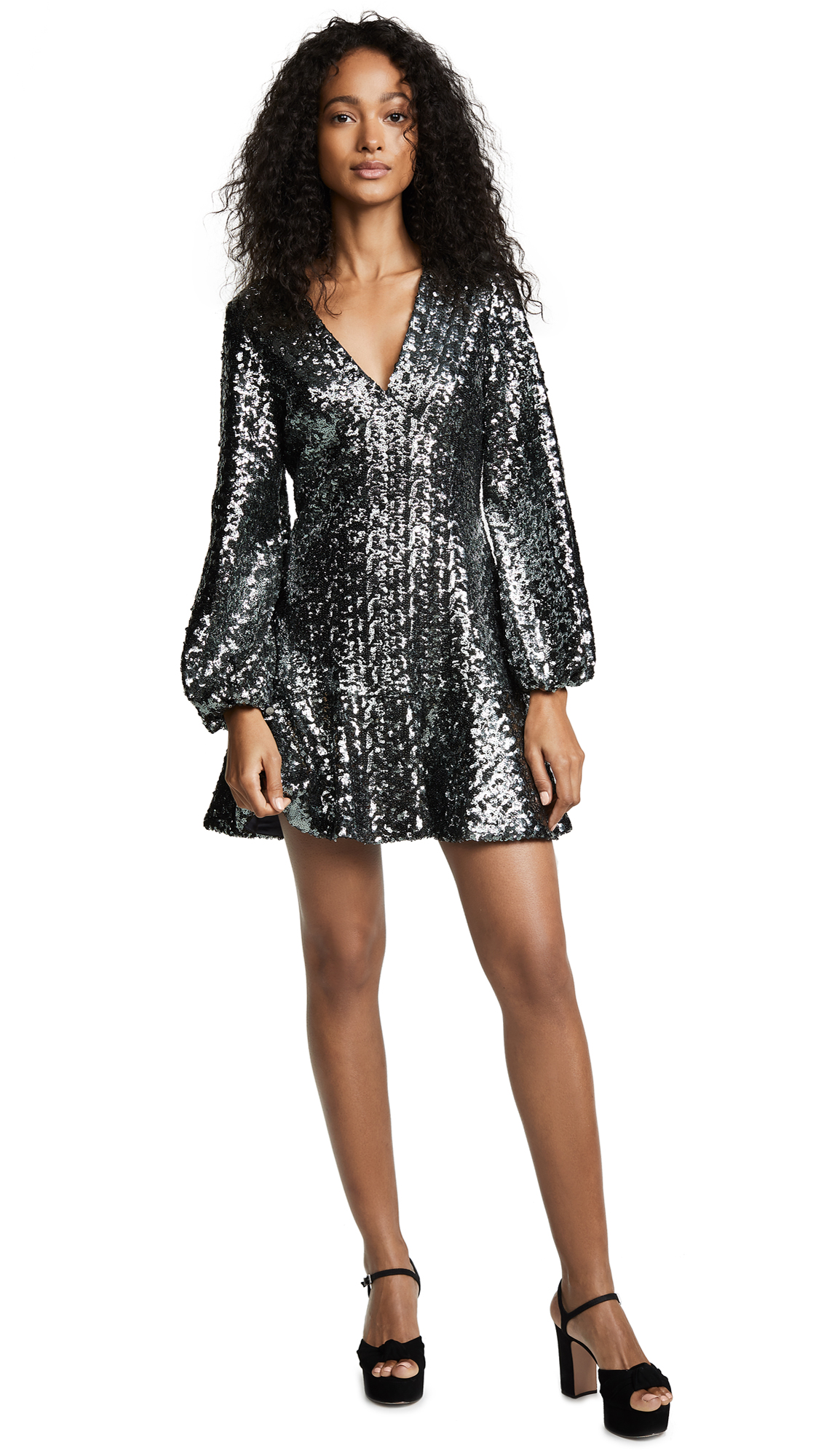 Renada Sequin-Embellished Dress in Grey