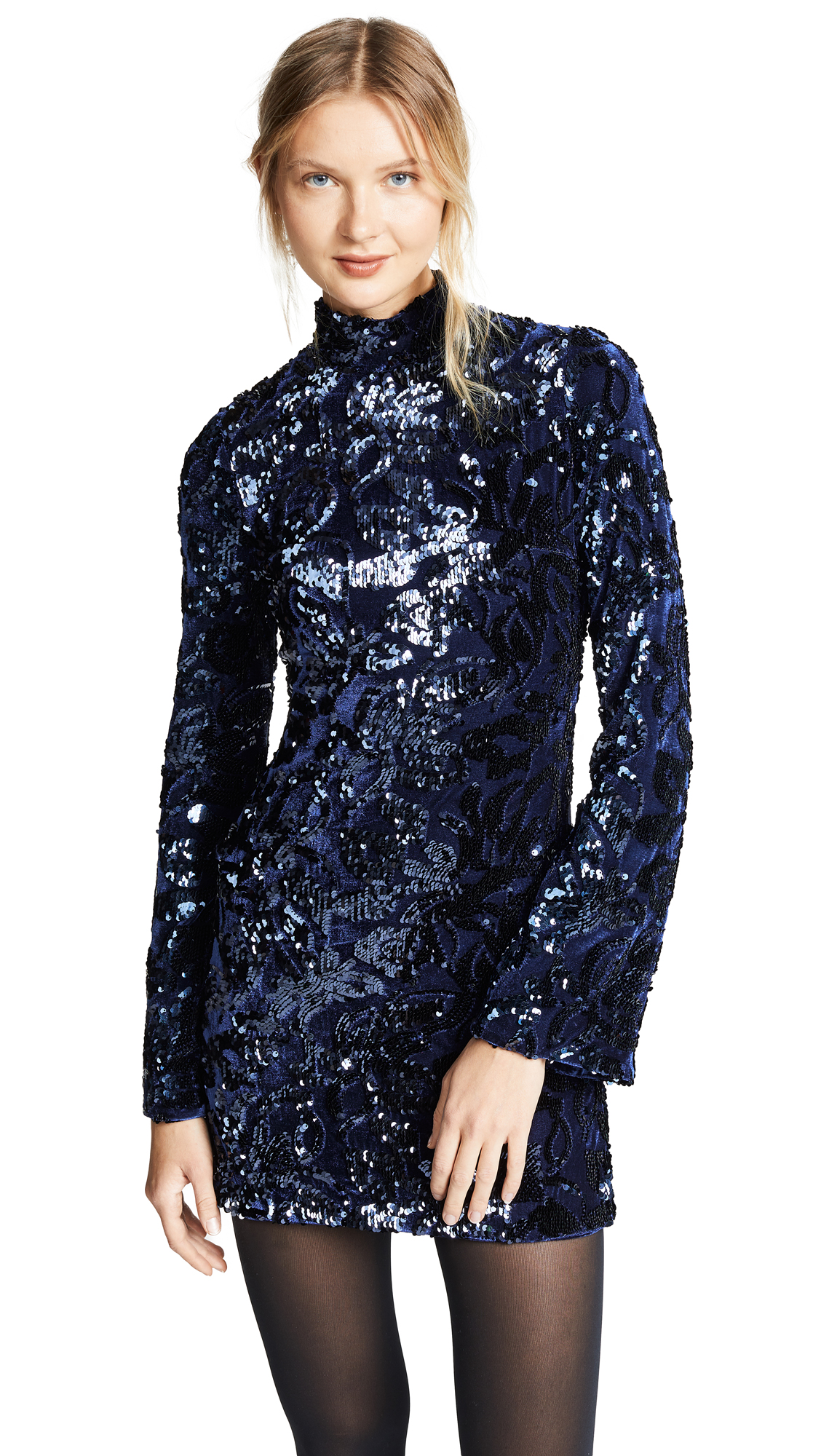 Rhapsody Sequin Turtleneck Mini Dress in Blue