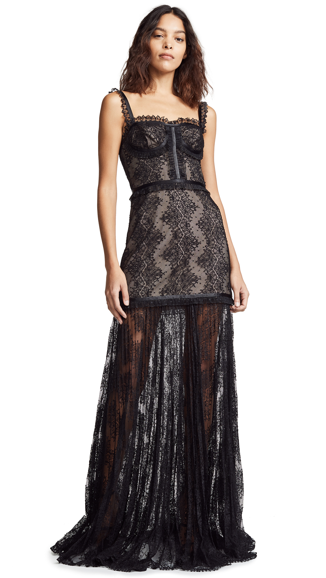 Kieran Lace Bustier Cocktail Dress in Black Lace