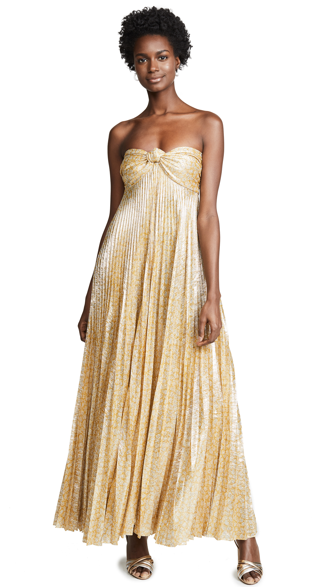 Joya Strapless Sweetheart Lamé Pleated A-Line Dress in Gold Lame