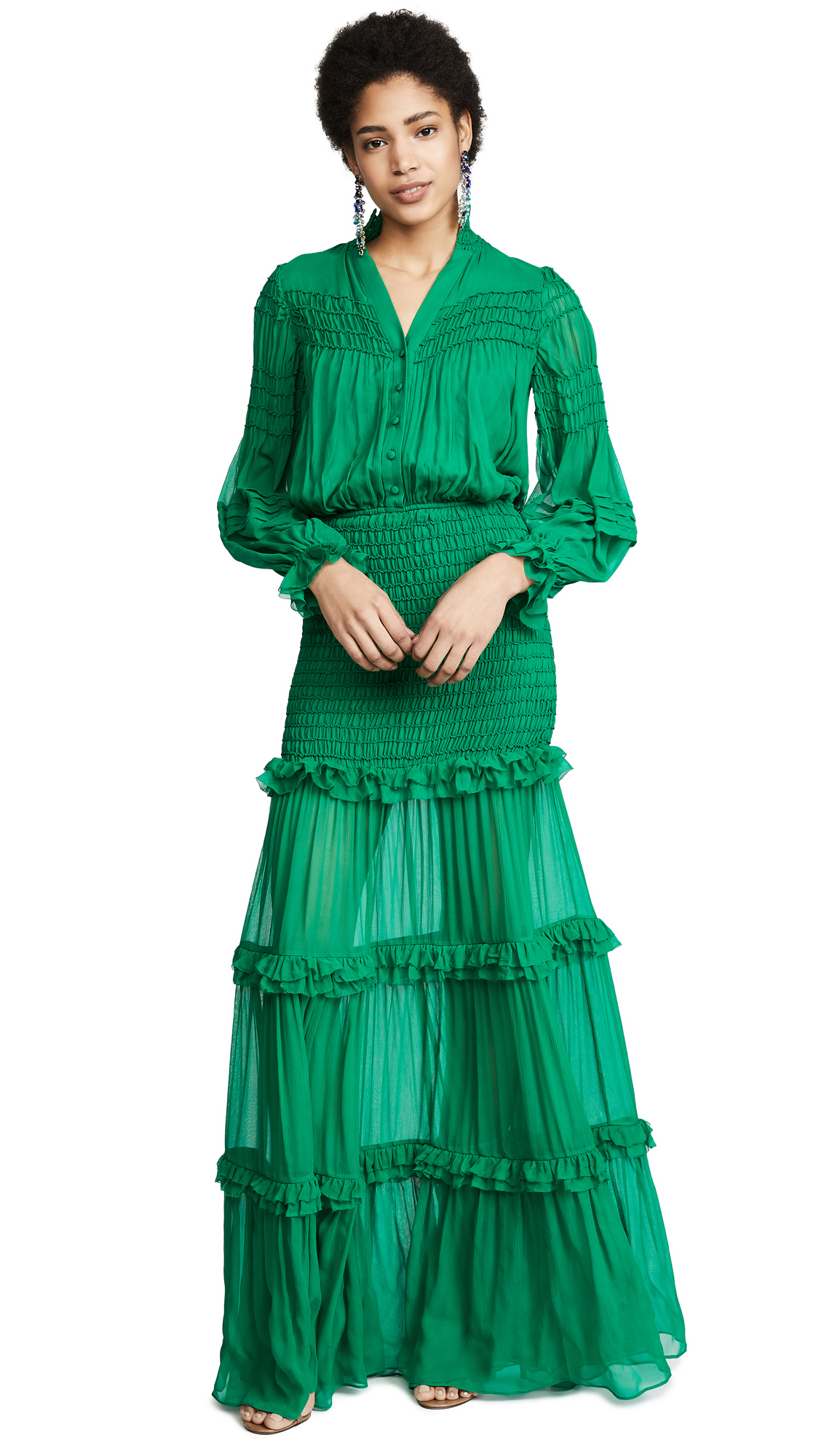 Sinclair Smocked Ruffle Button-Front Dress in Green
