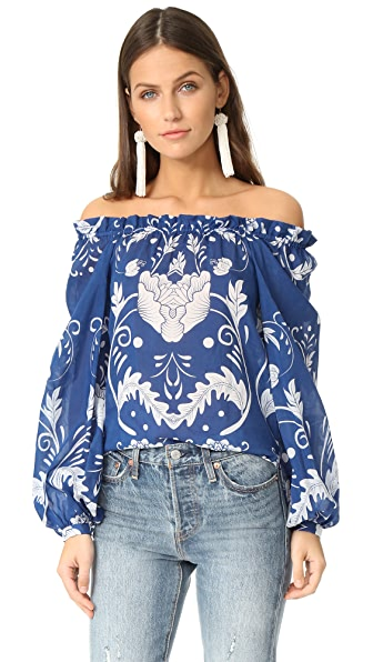 Alice McCall My Sweet Lord Blouse - Cobalt Bloom