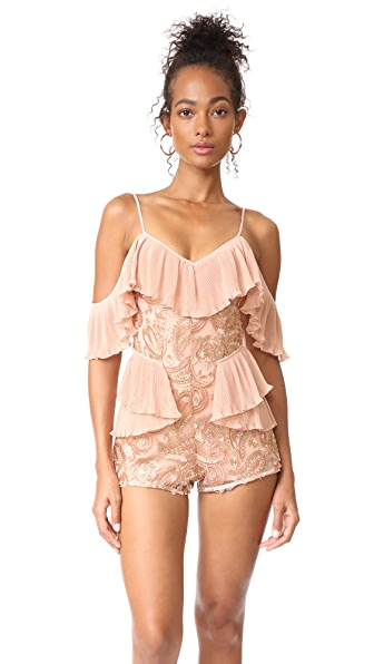 Alice McCall Let's Get Loud Romper In Rose Gold