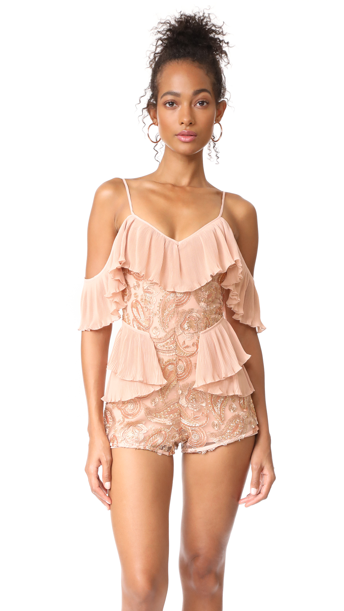 Alice McCall Lets Get Loud Romper - Rose Gold