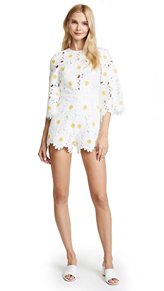 Alice McCall You Can Never Tell Romper In White Daisy